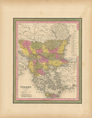 Turkey Europe Antique Map Mitchell 1847 Authentic Balkan Decor Gift