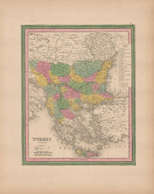 Turkey In Europe Vintage Map Original Balkans Decor History Gifts Tanner 1845