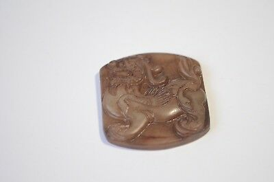 Vintage Natural Genuine Brown Jadeite Jade Hand Carved Pixiu Dragon Pendant