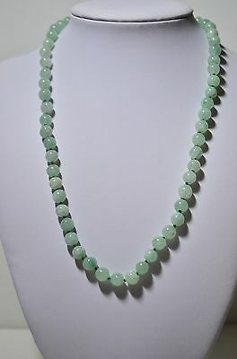 Vintage Vermeil Gold Over Sterling Silver Natural Green Jade Jadeite Necklace