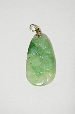 Vintage Natural Green Jade Jadeite Hand Carved Ruyi Flower Gold Plated Pendant