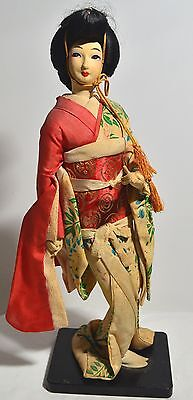 Beautiful Antique Old Asian Japanese Geisha Doll Wearing Silk Kimono on Stand