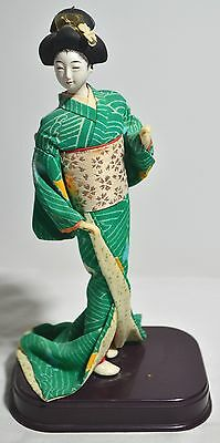 Beautiful Vintage Japanese Komachi Geisha Doll Wearing Silk Kimono on Stand