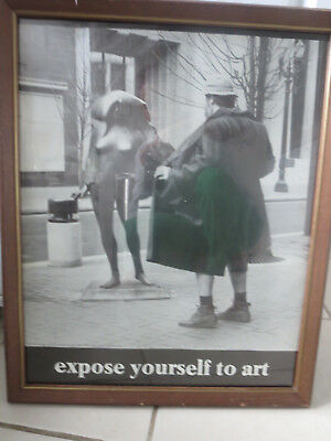 """Vintage 1981  Framed EXPOSE YOURSELF TO ART Poster 17"""" x 22 Mike Ryerson"""