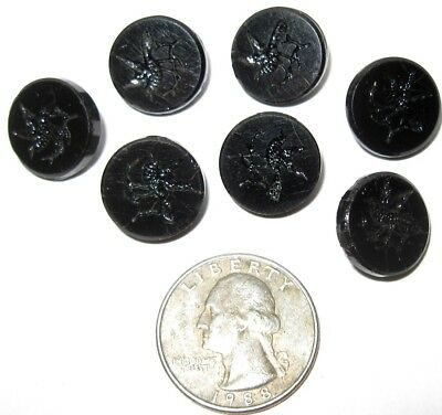 7 Antique Black Glass Buttons with Incised Bird on Branch Design Primitive