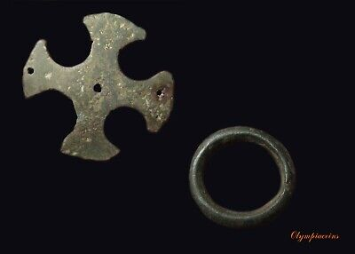 ** LOT OF 2 ** Ancient CELTIC ** CROSS and PROTOMONEY RING **