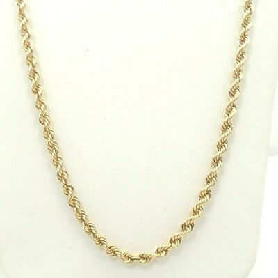 """14K Yellow Gold Rope Chain Necklace 20"""" 16.5g A6164"""