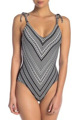 3cc241b3572 Robin Piccone Women's Avery Patterned One Piece Swimsuit In Black/White  Size8(IV