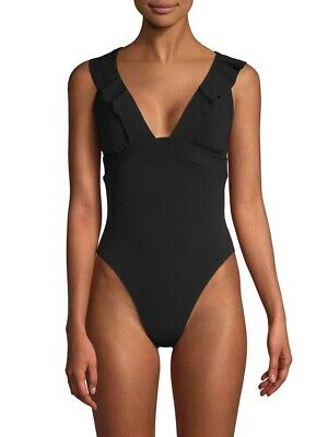 5621f3a841a Robin Piccone Women's Lina Ruffle One Piece Swimsuit In Black Size ...