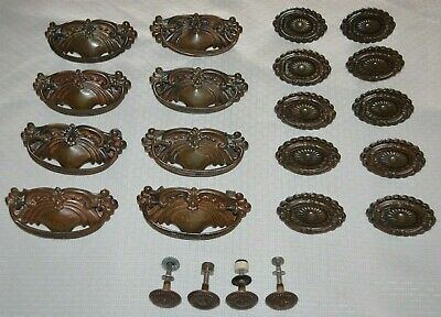 22 Pc Set Antique Victorian Style Oval Drawer Pull Handle Copper Brass Vintage