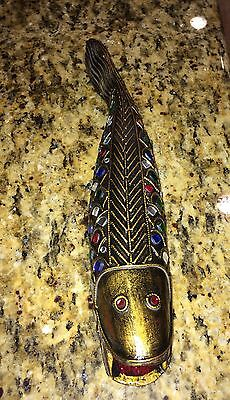 """Hand Carved Painted Wood Jeweled Fish Art Sculpture Figurine Statue Thailand 12"""""""