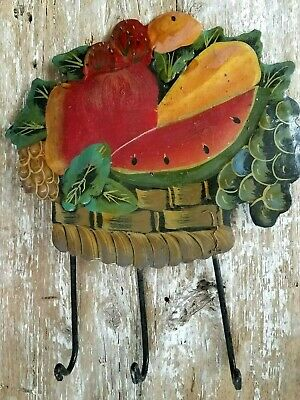Vintage Tole Hand Painted Tin Fruit Wall Hanging Herb Hooks Kitchen Decor