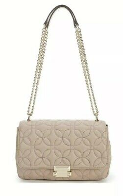 befe0f7147c8 Michael Kors Sloan Women s Small Gold Chain Shoulder Bad Truffle Beige Purse  NWT