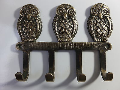 Antique Style Solid Brass Owls Birds Hooks Wall Hanger Key Coat Hat