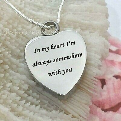 I am always with you Heart Memorial Keepsake Cremation Urn Pendant Necklace