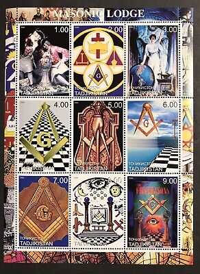 Sale! Tajikistan 2000 Mnh Masonic Lodge Stamps Sheet 9V Freemasonry Organization