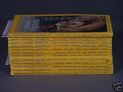 Vintage National Geographic Magazines From 1973 - All 12 Issues with 4 Maps