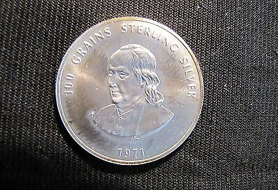 1971 Franklin Mint Sterling Silver Medal John and Nancy Brooks Private Treasury