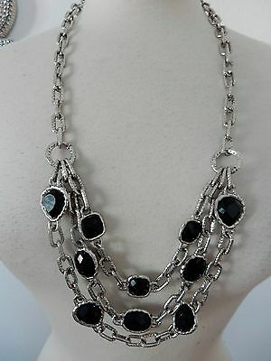 Large Silver Plated Multi Chain Black Stone Statement Necklace Designer
