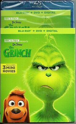 Dr. Seuss The Grinch Blu-ray + DVD + Digital (Includes 3 Mini Movies) BRAND NEW