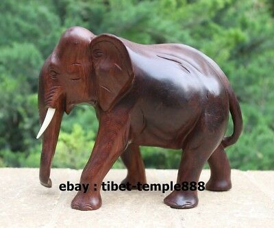 20 CM Red Wood Handwork Carving Chinese Fengshui Animal Asia elephant sculpture