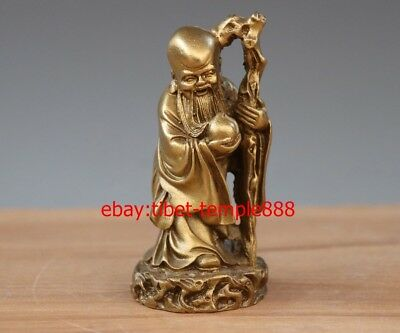 12 CM Chinese Belief Brass Copper Old Man God of Longevity Lucky Fengshui Statue