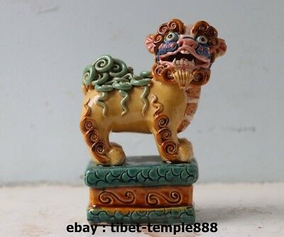 5.5 Chinese WuCai Porcelain & Pottery Foo Dog lion lucky Fengshui Animal Statue