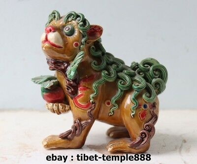5.5 Chinese WuCai Porcelain & Pottery Foo Dog lion peach Fengshui Animal Statue