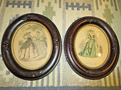 """2 Antique Edwardian Carved Wood 14"""" by 12-1/4"""" Oval Picture Frames"""
