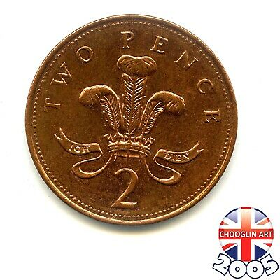 A 2005 British Copper-plated Steel ELIZABETH II Two pence coin