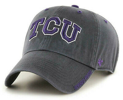 new arrival 4fe6f 8e2f4 Tcu Horned Frogs Adjustable Gray Strapback Dad Cap Hat Clean Up New!  47  Brand