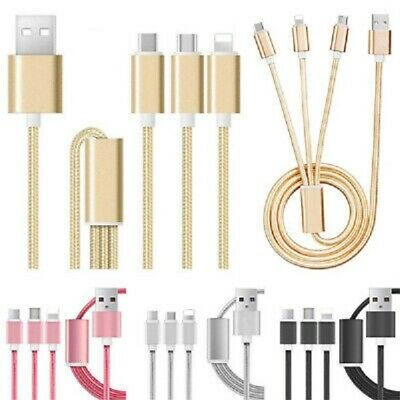 3 in 1 Multi TYPE C Micro USB Charger Charging Cable Cord For iPhone Android