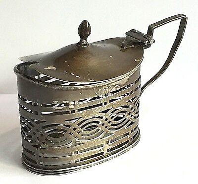 Sterling Silver Mustard Pot William Aitken AS IS MISSING GLASS SPOON 1902 40 gms