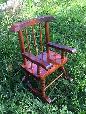 Vintage Style Wooden Rocking Chair Seat For Doll Or Teddy Bear Display 19.5cm