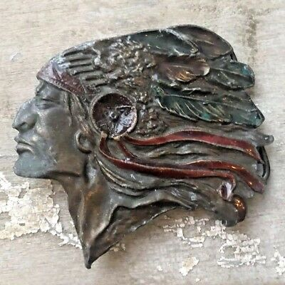 INDIAN CHIEF Painted Head Headdress Cherokee Native Brass ? Belt Buckle Vintage