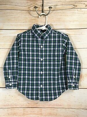 Janie And Jack Toddler Boys Size 2T Blue Green Plaid Button Up Shirt Long Sleeve