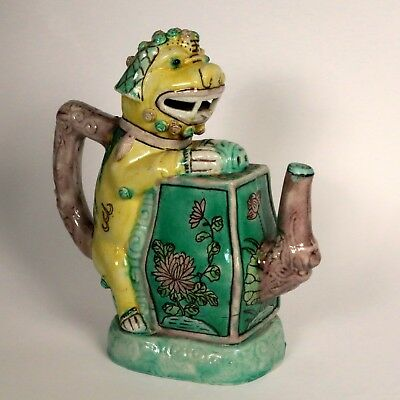 Unusual Antique Chinese Sancai-Glazed FOO DOG Cadogan  Wine Pot teapot
