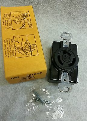Hubbell Twist Lock Receptacle 7310-BG 20A 250V 3 Wire Bakelite Back Side NOS