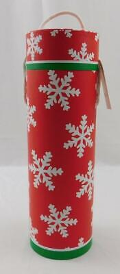 Celebrate It Christmas Holiday Wine Gift Box Tube New Red Glitter Snowflakes