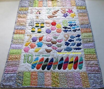 Hawaiian STYLE quilt baby crib blanket hand quilted wall hanging Numbers PRINTED