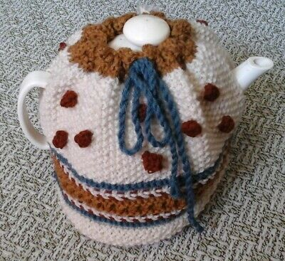 HANDKNITTED 100% WOOL TEA COSY 6 CUP - Natural