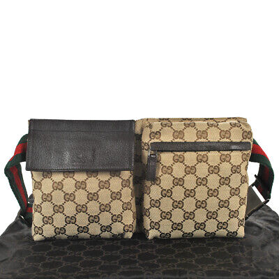 e7f30271813 F56 GUCCI Authentic Sherry Webbing Waist Pouch Bumbag Belt Bag Fanny Pack  Brown