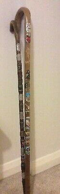 Vintage Wooden Walking Stick X 2 With Badges