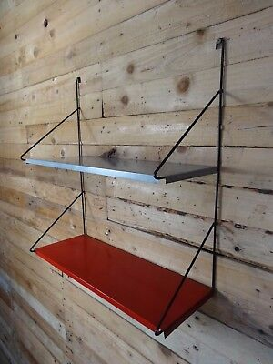 1960s RETRO STRING / DUTCH COLOURED METAL  TOMADO  WALL SHELVING (B23)