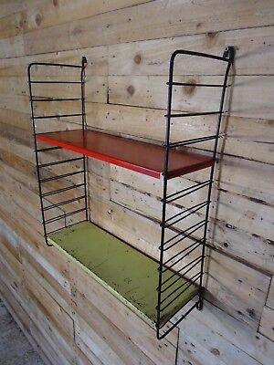 1960s RETRO STRING / DUTCH COLOURED METAL  TOMADO  WALL SHELVING (B26)