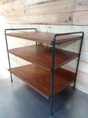 Lovely Super Retro 1960's Black Metal / Teak Magazine / Side Table