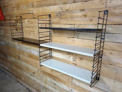 1960s RETRO STRING / DUTCH COLOURED METAL  TOMADO  WALL SHELVING (B29)