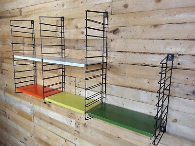 1960s RETRO STRING / DUTCH COLOURED METAL  TOMADO  WALL SHELVING (B28)