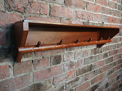 Vintage Original Art&craft Solid Oak Railway Rack / Coathanger (D02)