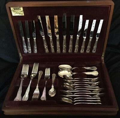 Vintage Viners Sheffield Kings Pattern Cutlery 6 Setting Silver Plate 44 pieces